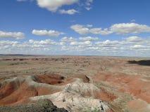 Les roches rouges aménagent en parc au parc national de forêt pétrifiée Photos libres de droits