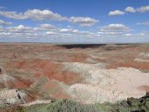 Les roches rouges aménagent en parc au parc national de forêt pétrifiée Images stock