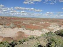 Les roches rouges aménagent en parc au parc national de forêt pétrifiée Photographie stock
