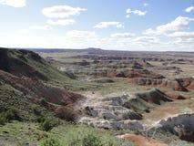 Les roches rouges aménagent en parc au parc national de forêt pétrifiée Image stock