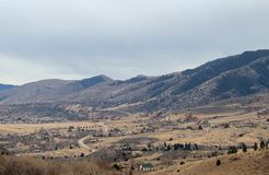 Les roches rouges garent le paysage de montagne, le Colorado, hiver photo stock