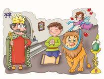 Les rois, dans le château avec un lion, Photographie stock libre de droits