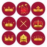 Les Rois médiévaux Attributes en cercles d'écarlate réglés illustration libre de droits