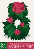 Les roses épanouies avec des feuilles donnent la forme pour numéro huit avec le message du jour des femmes, illustration de vecte Photographie stock libre de droits