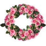 Les roses roses avec des feuilles fleurissent la disposition de Cirlce d'isolement sur le blanc photographie stock
