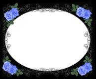 Les roses bleues Wedding encadrent le noir Photos libres de droits
