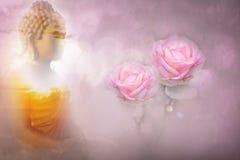 Les roses roses colorent le style doux pour le fond doux de bokeh avec la copie photographie stock libre de droits