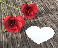 Les roses de coeur indique Valentine Day And Bloom Image stock