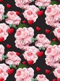 Les roses et les coeurs de modèle de jour de valentines dirigent les milieux réalistes de noir d'illustration Image stock