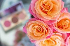 les roses Rose-oranges sur un fond brouillé d'un ensemble cosmétique, composent photos libres de droits