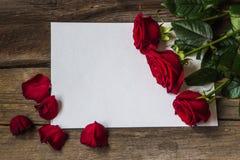 Les roses rouges fleurissent et des pétales sur le morceau de papier vide Photo stock