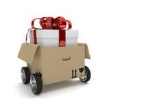 Les roues ont ouvert le ruban de carton de cadeau de paquet Photo libre de droits