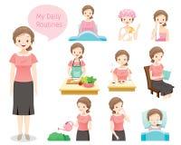Les routines quotidiennes de dame âgée illustration de vecteur