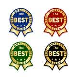 Les rubans attribuent le meilleur ensemble d'étiquette Fond blanc d'isolement par icône de récompense de ruban d'or E Images stock