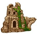 Les ruines abandonnées d'une vieille maison ou forteresse en pierre d'isolement sur le fond blanc Les restes de l'architecture mé illustration stock