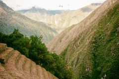 Les ruines d'Inca de l'agriculture centrent près de Machu Picchu Aucune personnes Photographie stock