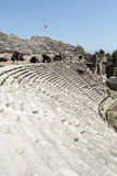 Les ruines de l'amphithéâtre romain antique dans le côté Images libres de droits