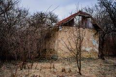Les ruines de la maison abandonnée dans la forêt photographie stock