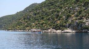 Les ruines de la ville submergée Simena et de l'île de Kekova dans la province d'Antalya, Turquie Image stock