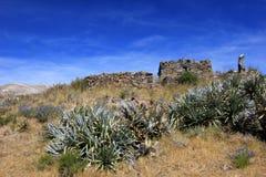 Les ruines de Maukallacta sur la montagne au-dessus de Puica Images stock