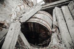 Les ruines du bâtiment détruit Photographie stock