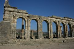 Les ruines romaines antiques de Volubilis au Maroc image stock