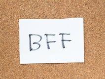Les séries d'un message sur le liège embarquent, BFF Photos stock