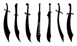 Les sabres silhouettent l'ensemble Images libres de droits