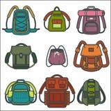 Les sacs à dos ou le vecteur de sac à dos ont isolé des icônes pour le voyage, la mode et les sacs d'école illustration de vecteur
