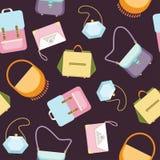 Les sacs à main des femmes pince le modèle sans couture de fond - illustration plate de vecteur de style Photographie stock libre de droits
