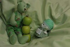 Les sacs et les pommes de chiffon sur le fond vert reposent des jouets photos libres de droits