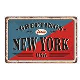 Les salutations du métal rouillé de cru de New York se connectent un fond blanc, illustration de vecteur illustration de vecteur