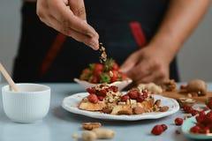 Les sandwichs doux avec de petits fraises, fromage, camembert, brie, écrous et miel sur le grain entier panent la bruschette fais photo libre de droits