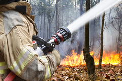 Les sapeurs-pompiers aidés luttent un feu de forêt images stock