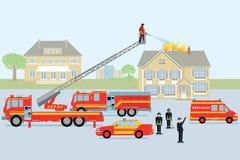 Les sapeurs-pompiers et le pompier illustration stock