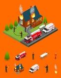 Les sapeurs-pompiers s'éteignent le feu à la vue isométrique de pièce de Chambre et d'éléments Vecteur illustration libre de droits