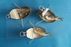 Les sardines et l'arête de poisson frites sur la sardine peuvent Photo libre de droits