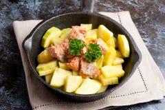 Les saumons avec la courgette ont décoré le persil Photos libres de droits