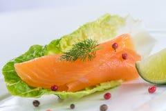 Les saumons du plat avec l'american national standard de salade verdissent le lemond photo stock