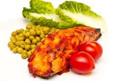 Les saumons ont fait cuire au four en sauce à tomatoe d'isolement Photo libre de droits