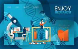 Les scientifiques apprécient le processus de rechercher des drogues et des substances liquides Illustration plate de vecteur de b illustration stock