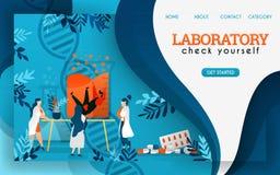 Les scientifiques dans le laboratoire sont recherchants et vérifiants les humains préservés Illustration plate de vecteur de band illustration de vecteur