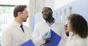 Les scientifiques groupent discuter le liquide dans des tubes à essai avec des assistants faisant l'expérience chimique dans le l banque de vidéos