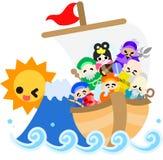Les sept divinités de la bonne chance et le trésor SH illustration libre de droits