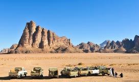 Les sept piliers de la sagesse en Wadi Rum, Jordanie Photos stock