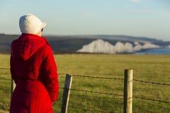 Les sept soeurs est des séries de falaises de craie par la Manche Ils font partie des bas du sud dans le Sussex est Image stock