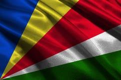 Les Seychelles diminuent, symbole d'illustration du drapeau national 3D des Seychelles Image libre de droits