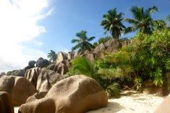 Les Seychelles. La Digue d'île. Image libre de droits