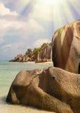 Les Seychelles tropicales Palmiers sur la La Digue de thе Image stock