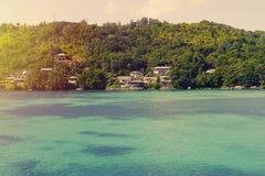 Les Seychelles tropicales Palmiers sur la La Digue de thе Images libres de droits